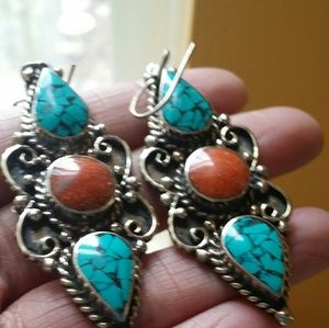 Turquoise red coral earrings sterling silver new